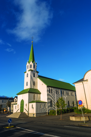 The Free Church in Reykjavik downtown at sunset, 2016 Stock Photo
