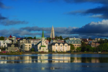 View of Reykjaviks downtown at sunset, summer, 2016