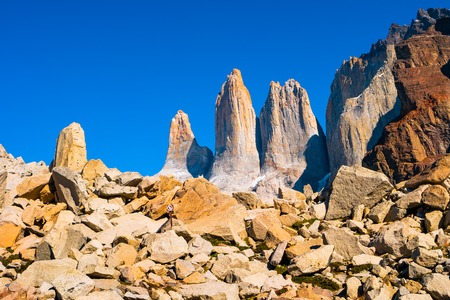 Peaks of Torres del Paine, National Park, Patagonia, Chile Stock Photo