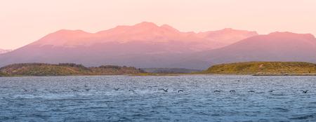 Panoramic landscape of Tierra del Fuego National Park, Patagonia, Argentina, autumn
