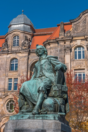 Statue of great scientist Otto Gvericke,  Magdeburg, Germany, summer time Editorial