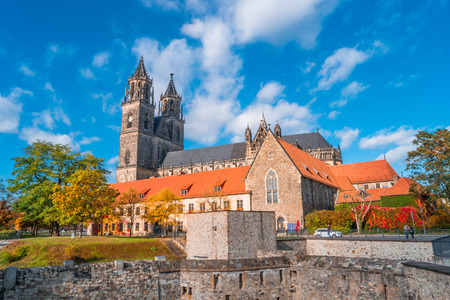 Magnificent colorful Cathedral of Magdeburg in Autumn, Germany, sunset Standard-Bild