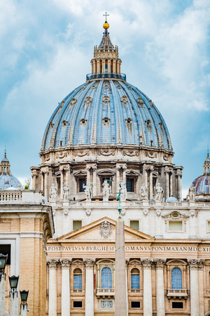Saint Peter's Basilica in Rome, Italy, dramatic view of the Dome