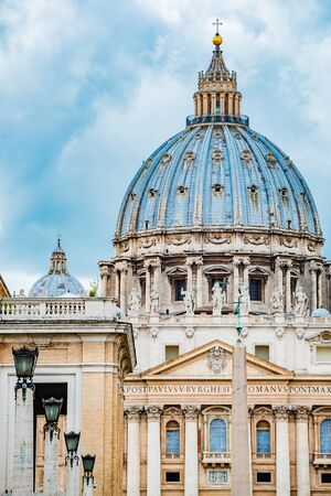 Saint Peters Basilica in Rome, Italy, dramatic view of the Dome