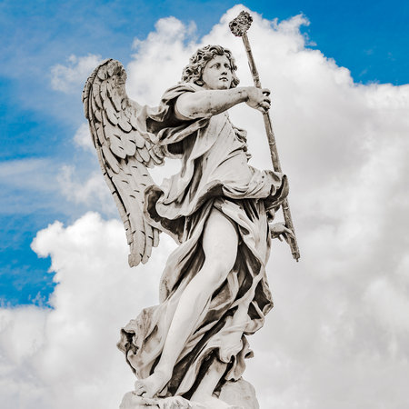 Holy angel at Bridge Saint Angelo, Rome, Italy, dramatic view