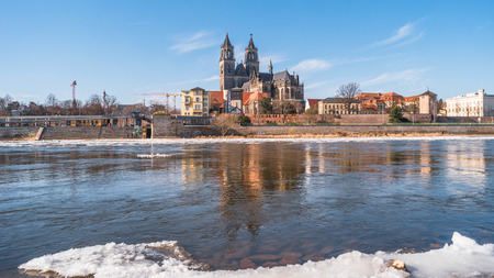 Magdeburg downtown during ice drift at Elbe, Germany, Spring
