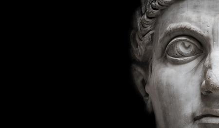 Statue of Roman Nobel Man  isolated at black background, Rome, Italy,streamer Reklamní fotografie