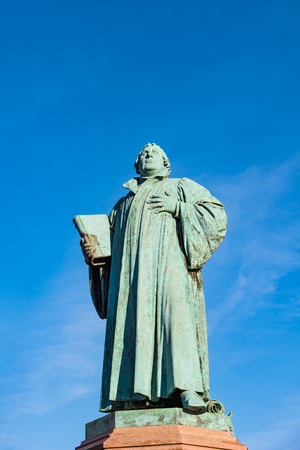 Statue of Martin Luther in Magdeburg, Germany, Spring time, sunny day