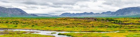 Panoramic view of Thingvellir national park and Pingvallavatn on Iceland, summer time, panorama, wide angle, dramatic scenery 写真素材
