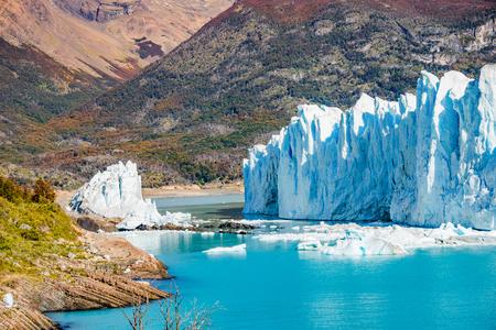Panorama of glacier Perito Moreno in Patagonia, South America, Autumn, sunny day