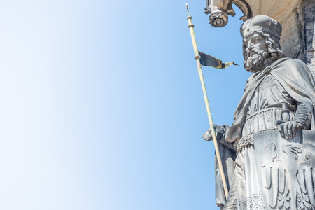 Statue of Knight at Saint Vitus Cathedral in Prague, Czech Republic, details, blue sky