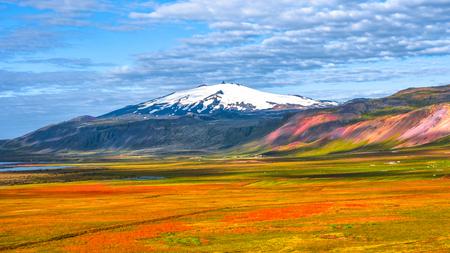 Snaefellsjoekull peak and Icelandic colorful and wild landscape at summer time, Iceland Stock Photo
