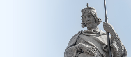 PRAGUE, CZECH REPUBLIC:Statue of Knight at Saint Vitus Cathedral in Prague, Czech Republic, details, paste space, smooth background