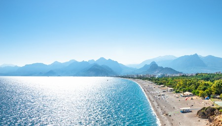 Panoramic bird view of Antalya and Mediterranean seacoast and beach, Antalya, Turkey, Autumn