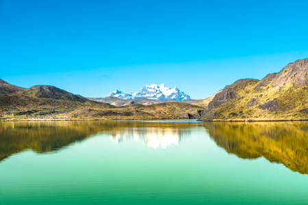 Panoramic view of Torres del Paine National Park, Patagonia, Chile, sunny day, blue sky Stock Photo