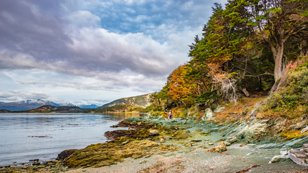 Hikers and wonderful panoramic landscape of Tierra del Fuego National Park, Patagonia, Argentina