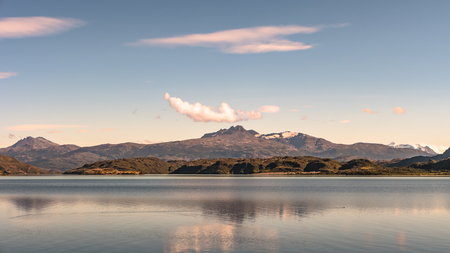 Panoramic view of Torres del Paine National Park, its forests, lagoon and glaciers during sunset, Patagonia, Chile Banque d'images - 119148722