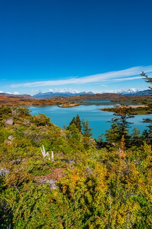 View of Torres del Paine National Park and its lagoon with icebergs, Patagonia, Chile, sunny day, blue sky Banque d'images - 119148726