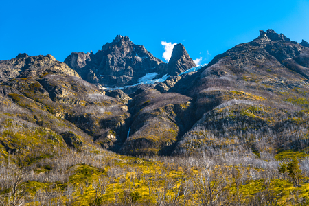 Panoramic view of Torres del Paine National Park mountains peaks, Patagonia, Chile Banque d'images - 119148728