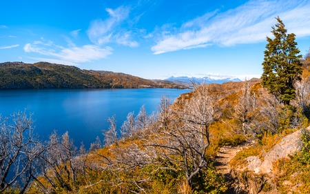 Panoramic view of Torres del Paine National Park, its forests, lagoon and glaciers at Autumn, Patagonia, Chile Stock Photo