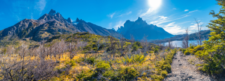 View of Torres del Paine National Park, its forests and hiking trail at Autumn, Patagonia, Chile Banque d'images - 119148737