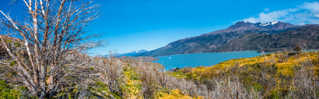 Panoramic view of Torres del Paine National Park, its forests, lagoon and glaciers at Autumn, Patagonia, Chile Banque d'images - 119148697
