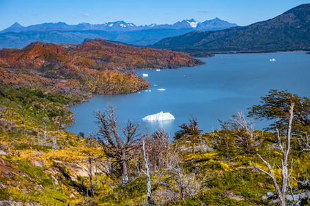 Panoramic view of Torres del Paine National Park, its forests, lagoon and glaciers at Autumn, Patagonia, Chile Banque d'images - 119148705