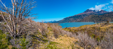 Panoramic view of Torres del Paine National Park, its lagoons and glaciers, Patagonia, Chile, sunny day, blue sky Banque d'images - 119148708