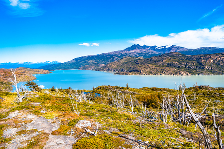 Panoramic view of Torres del Paine National Park, its lagoons and glaciers, Patagonia, Chile, sunny day, blue sky Banque d'images - 119148711