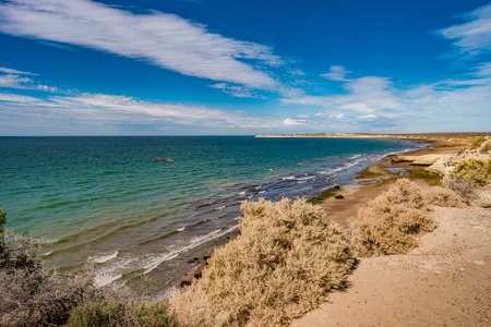 Beautiful Atlantic coastline at peninsula Valdes, Patagonia, Argentina, summer time Banque d'images - 119148999