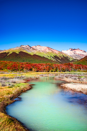Beautiful landscape of lenga forest, mountains at Tierra del Fuego National Park, Patagonia, autumn