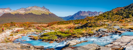 Beautiful landscape of lenga forest, mountains at Tierra del Fuego National Park, Patagonia, autumn Banque d'images - 119149020