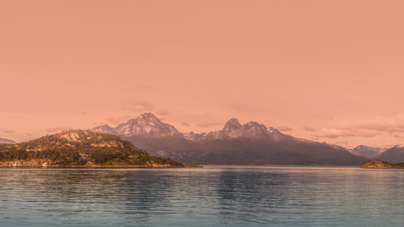 Panoramic landscape of Tierra del Fuego National Park, Patagonia, Argentina, autumn Banque d'images - 119148776