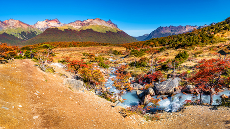 Beautiful landscape of lenga forest, mountains at Tierra del Fuego National Park, Patagonia, autumn Banque d'images - 119148786