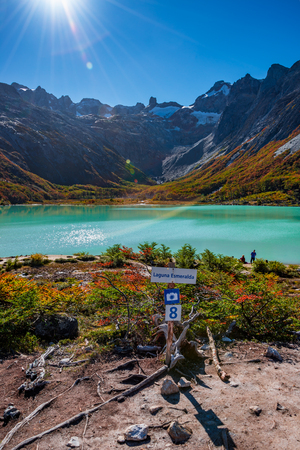 Esmeralda lake and Beautiful landscape of lenga forest, mountains at Tierra del Fuego National Park, Patagonia, autumn Banque d'images - 119148790