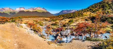Beautiful landscape of lenga forest, mountains at Tierra del Fuego National Park, Patagonia, autumn Banque d'images - 119148829
