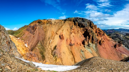 Beautiful colorful volcanic mountains Landmannalaugar as pure wilderness in Iceland