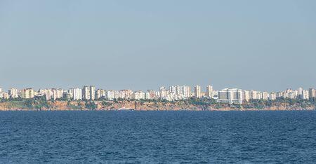 Panoramic bird view of Antalya and Mediterranean seacoast and beach, Antalya, Turkey, summer time