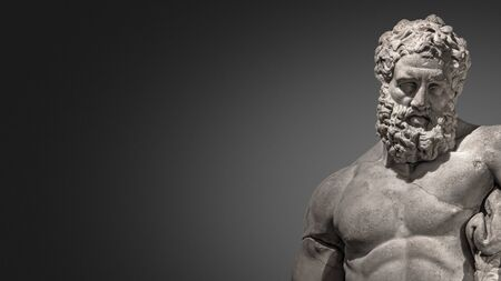 Banner with statue of powerful and handsome bearded Hercules at smooth gradient grey background