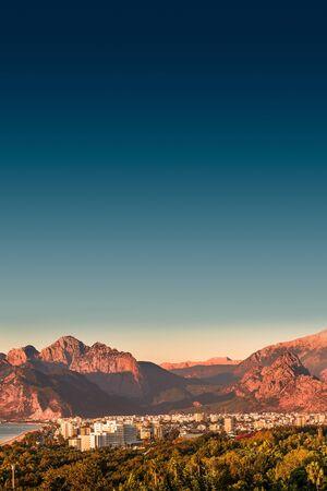 View of Antalya Mediterranean seacoast at sunset, Antalya, Turkey, summer time