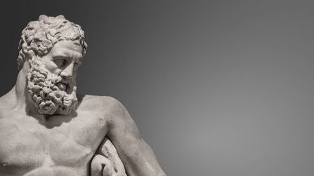 Statue of powerful and handsome bearded Hercules, closeup, details, at smooth gradient grey background