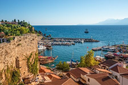 Panoramic view of old harbor and downtown called Marina in Antalya, Turkey Stok Fotoğraf