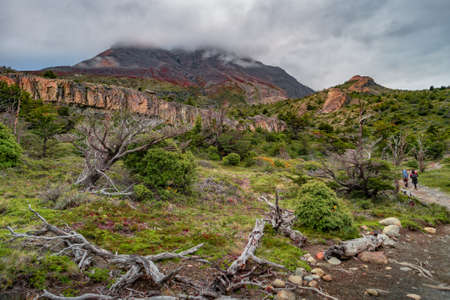 Panoramic view of lonely hikers walking through surreal landscape in Torres del Paine National Park, Patagonia, Chile