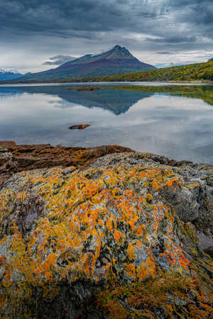 Beautiful sunset at Ensenada Zaratiegui Bay in Tierra del Fuego National Park, near Ushuaia and Beagle Channel, Patagonia, Argentina, early Autumn