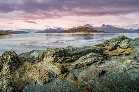 Panoramic view over beautiful sunset at Ensenada Zaratiegui Bay in Tierra del Fuego National Park, Beagle Channel, Patagonia, Argentina Stok Fotoğraf