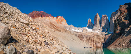 Panoramic view over beautiful Torres del Paine National Park, its high three major peaks as gigantic teeth and turquoise lagoon, Patagonia, Chile Stok Fotoğraf