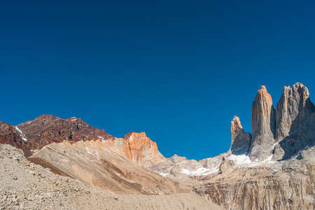 Panoramic view over beautiful Torres del Paine National Park, its high three major peaks as gigantic teeth, Patagonia, Chile