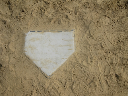 Baseball home plate with copy space on right