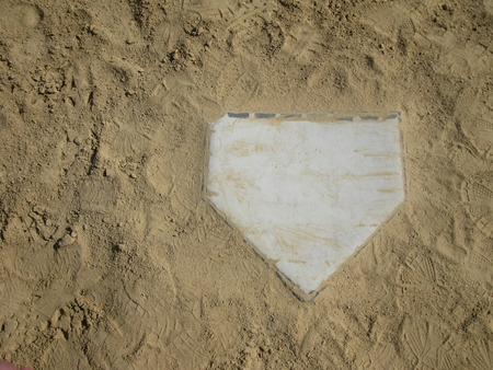 Home plate with copy space on left Stock Photo