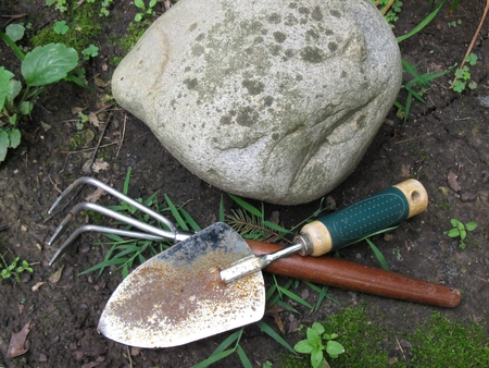 Garden tools in the garden Reklamní fotografie